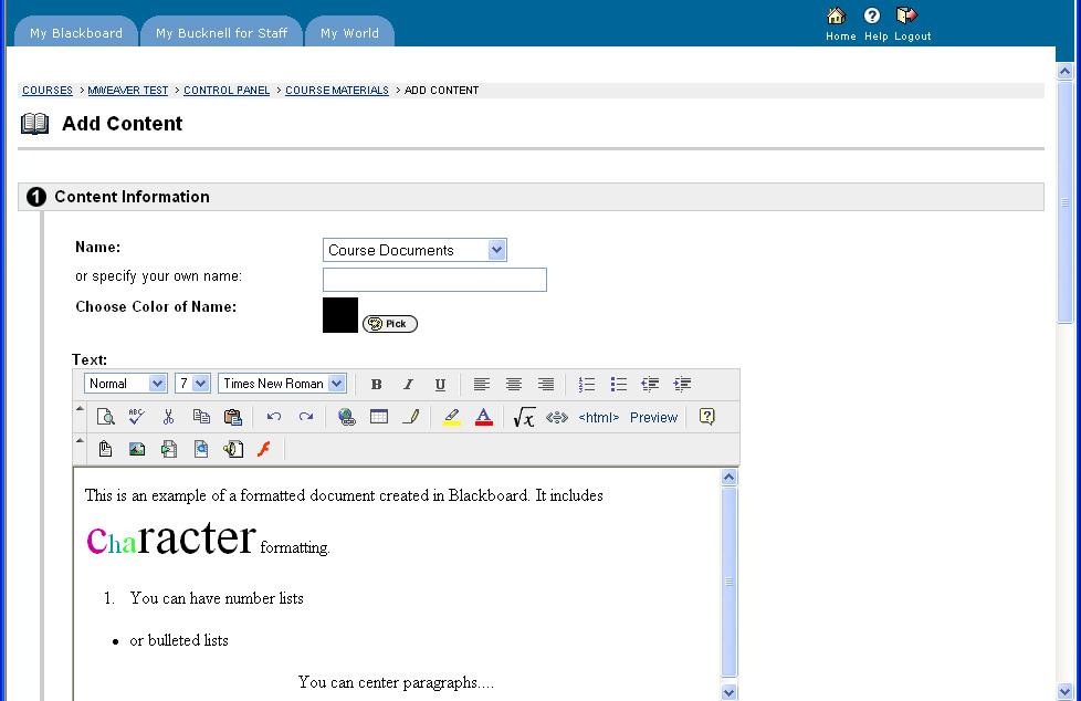 Blackboard - WYSIWYG Editor